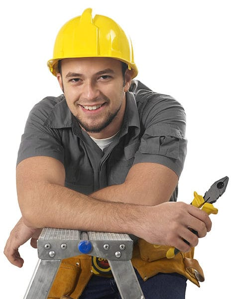 Cheerful carpenter isolated on white