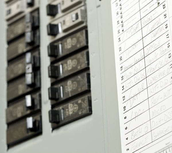 Residential Circuit Breaker Panel with Service Writing